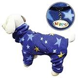 Cozy Midnight Stars Fleece Turtleneck Dog Pajamas / Bodysuit Size: Small, My Pet Supplies