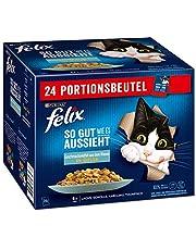 FELIX Zo goed als het eruit ziet, kattenvoer nat in gelei, vis variëteitenmix, 4-pack (4 x 24 zakken à 85 g)