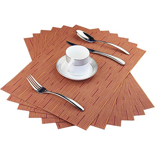 BeChen Placemats,Washable Easy to Clean Woven Vinyl Kitchen Placemats for Dining Table,Set of 6(Orange)