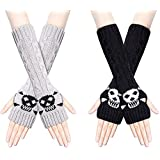 2 Pairs Womens Thick Cable Knit Long Arm Warmers Fingerless Gloves, Winter Warm Thumb Hole Gloves Mittens