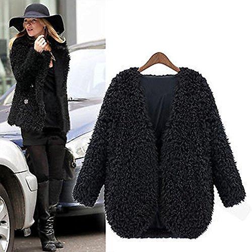 Fluffy Faux Short Women Outerwear Coat Fur Tops Cardigan VERYCO Jacket Black pO45q4