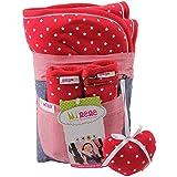 Minene - Colchoneta para cochecito de bebé (incluye almohadillas para cinturón) rojo Red Stars
