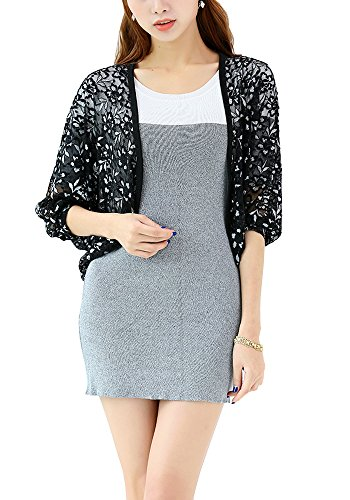 Dolman Sleeve Shrug - Sheicon Women Soft Lace Floral Dolman Sleeve Batwing Shrugs Cardigan Color Black Size One Size