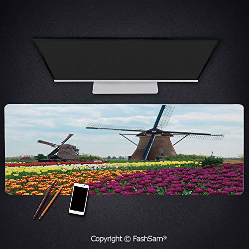 Desk Gaming Mouse Pad Non-Slip Bedding Plants of Netherlands Farm Country Heritage Historical Architecture Keyboard Pad for Office Desktop(W35.4xL15.7)
