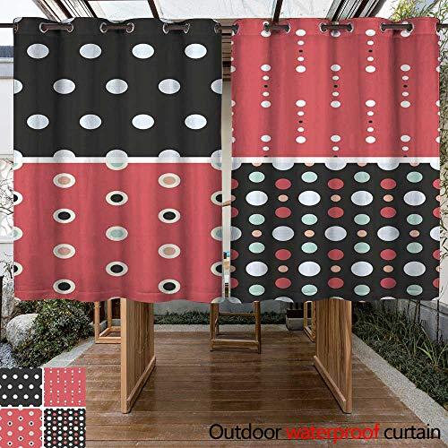 (RenteriaDecor Home Patio Outdoor Curtain Vector Seamless Poka dot tiling Patterns W63 x L72)