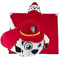 Paw Patrol Hooded Blanket - Marshall, Red Fire Fighter Pup - Kids Cartoon Character Blankie that Folds into a Pillow - This Soft Dog Blanket/ Pillow is Great for Boys and Girls - by Comfy Critters