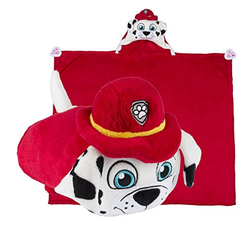 [Comfy Critters Paw Patrol Cartoon Character Hooded Blanket that Folds into a Pillow, Marshall] (Cute Easy Group Costumes Ideas)