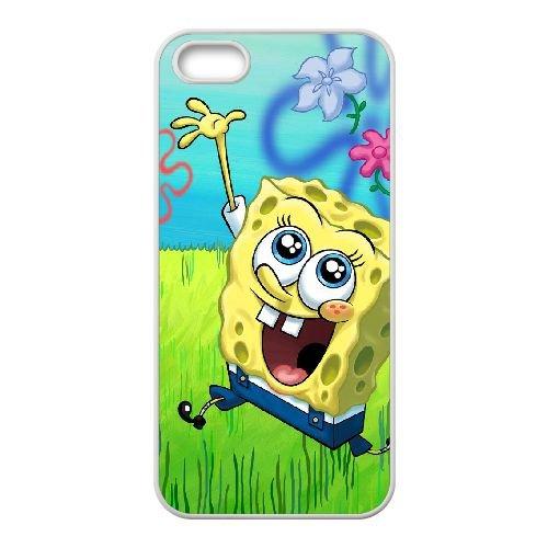 X3D27 Sponge Bob J4X5XH coque iPhone 5 5s cellule de cas de téléphone couvercle coque blanche WU0HAB0QY