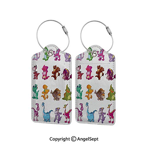 Flexible Travel Leather Luggage Tag,Collection of Cute Dinos Dinosaurs Extinction Funny Comic Child Illustration 1 PCS Multicolor,With Name ID Card Perfect to Quickly Spot Luggage Suitcase