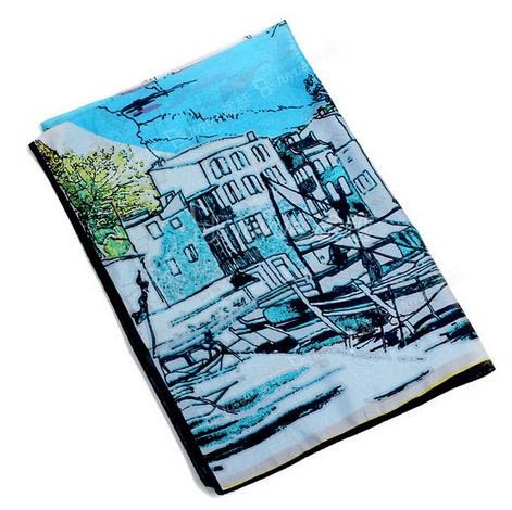 S Cloth Blue Latest Print Painting Long Scarf Spring And Autumn All-Match Ladies Scaves Min
