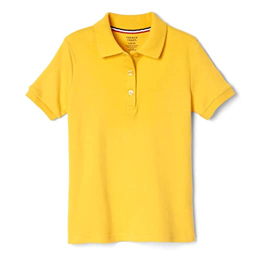 0e9cf5b0 French Toast Big Girls' Short Sleeve Interlock Polo with Picot Collar,  Gold, Large