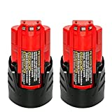 NeBatte 2 Pack 12v M12 2500mAh Lithium Battery Replacement for Milwaukee 48-11-2420 48-11-2411 48-11-2401 48-11-2402 48-11-2401 Cordless Power Tools