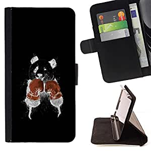 DEVIL CASE - FOR Samsung Galaxy S4 Mini i9190 - Funny Minimalist Boxing Rat - Style PU Leather Case Wallet Flip Stand Flap Closure Cover