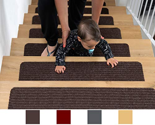 "EdenProducts Patent Pending Non Slip Carpet Stair Treads, Set of 15, Rug Non Skid Runner for Grip and Beauty. Safety Slip Resistant for Kids, Elders, and Dogs. 8"" X 30"", Brown, Pre Applied Adhesive"