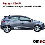 Lot de 4 déflecteurs d'air et pluie Noir pour Renault Clio IV
