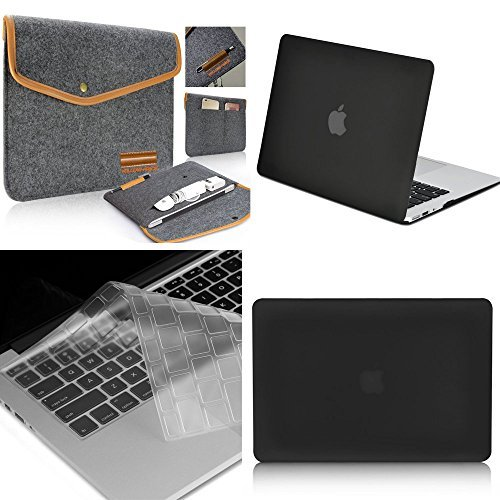 Yellow-Price, 3 in 1 Frost Black Soft-Touch Plastic Hard Case Cover & Felt Sleeve Laptop Case Cover Bag & Keyboard Cover for Macbook Air - 11' Synthetic Leather Yellow