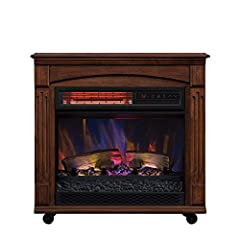 Warm up any room with this Caramel Birch, infrared quartz rolling electric fireplace mantel. This rolling mantel houses an infrared quartz electric fireplace, providing supplemental zone heating for up to 1,000 square feet. The infrared quart...