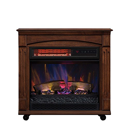 ChimneyFree Electric Infrared Quartz Fireplace with Remote, 5,200 BTU, Caramel Birch (Electric Fireplaces Energy Efficient)