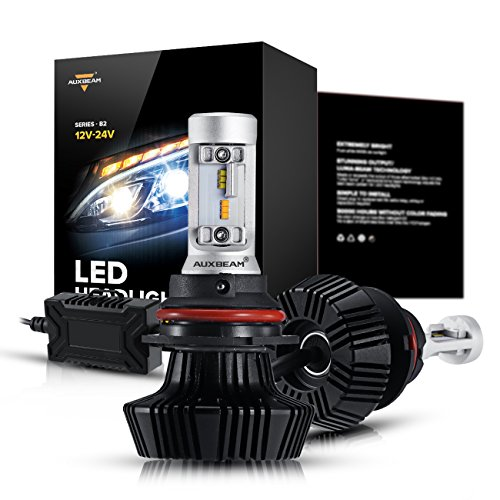 Auxbeam 9007 LED Headlight Bulb Bi-Color NF-B2 Series HB5 LED Headlight Conversion Kit LED Bulbs 50W 25W 4000lm Philips Chips 3000K 6500K Hi-Lo Beam (Pack of 2) - 1 Yr Warranty