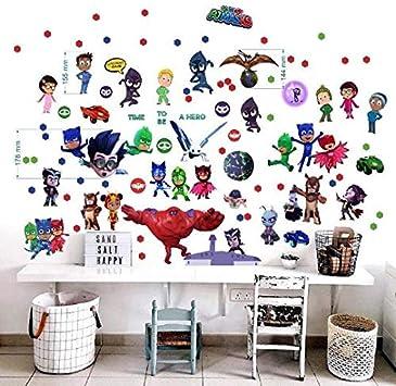 PJ Masks - Adhesivo de pared para dormitorios de niños y niñas, murales, decoración de paredes (2 hojas, 750 x 350 mm)