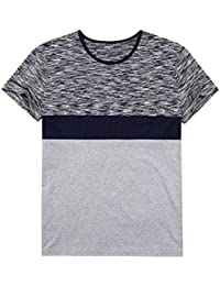 Men's Big and Tall Short Sleeve Casual Shirts Plus Size Crew Neck Contrast Color Stitching Shirts