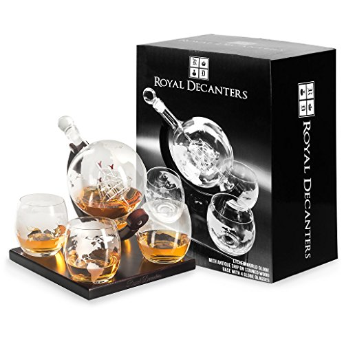 Etched-Globe-Whiskey-Decanter-Set-They-Will-Love-this-Gift-Includes-4-Glasses-Large-Glass-Beverage-Drink-Dispenser-also-for-Brandy-Tequila-Bourbon-Scotch-Rum-Alcohol-Related-Gifts-for-Dad850ml