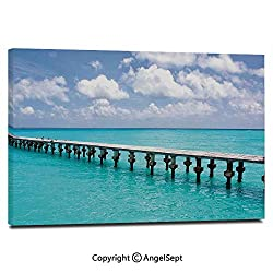 Canvas Prints Modern Art Framed Wall Mural Duck in Clear Empty Ocean on a Sunny Day Tropical Coastal Themed Image Wall Decorations for Living Room Bedroom Dining Room Bathroom Office,Turquoise Blue