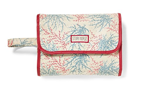SEA BERRY BEIGE Design Lightweight Holiday/Weekend Hanging WASH BAG/Make-up Bag/Toilet Bag - Beige, Coral, Green