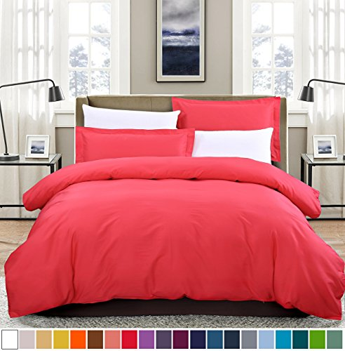 SUSYBAO 100% Natural Cotton 3 Pieces Duvet Cover Set Queen Size 1 Duvet Cover 2 Pillow Shams Rose Red Luxury Quality Soft Breathable Comfortable Fade Stain Resistant Solid Bedding with - Set 2 Roses Piece
