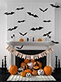 Halloween Decoration Trick OR Treat Burlap Banner, with Ghost Bat Printed + Party Supplies PVC 3D Decorative Bats Decal Scary Wall Sticker, 24 PCS, Black, for Home Party Window Wall Décor