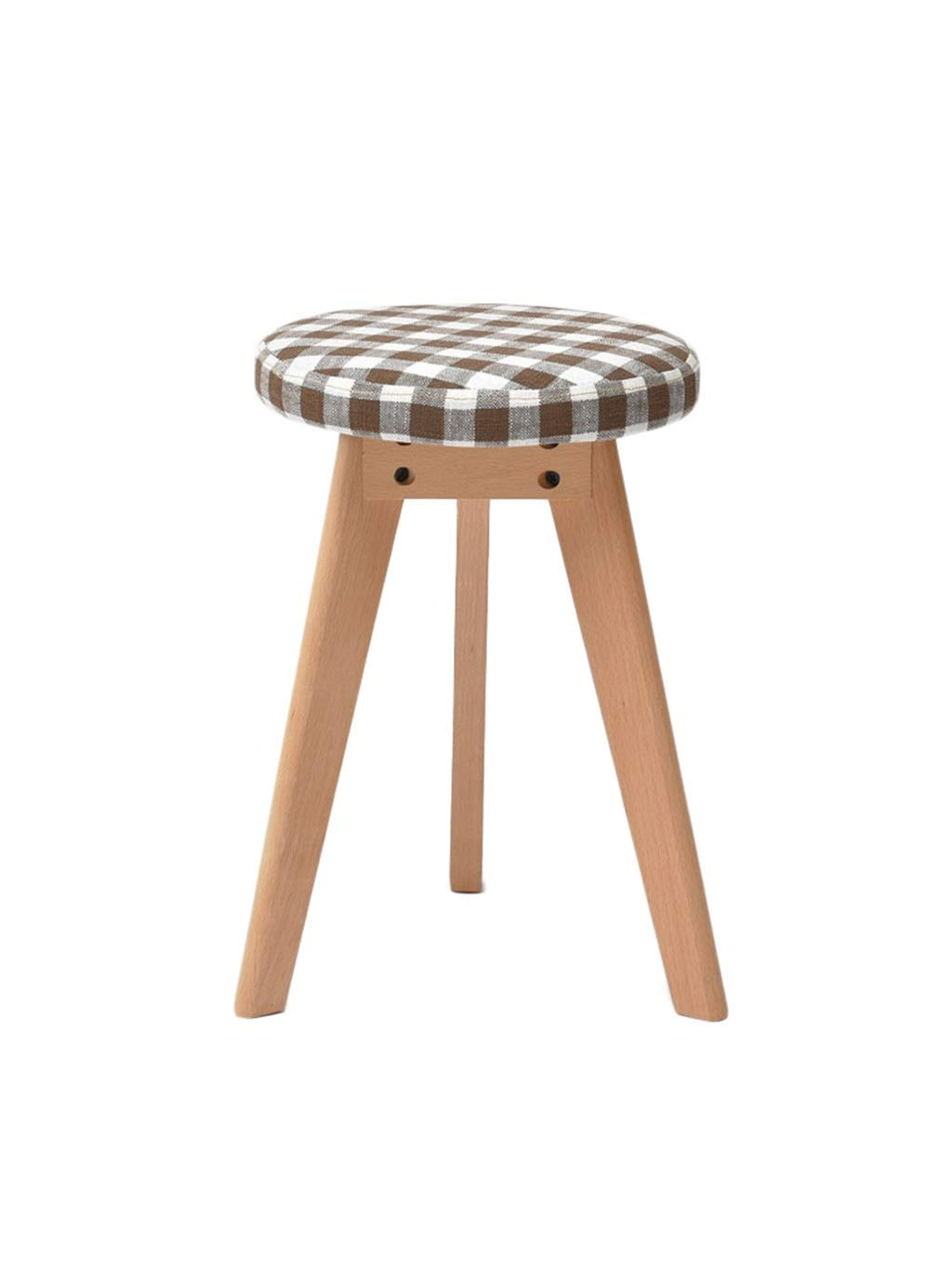 Lattice ZH STOOLS Round Stool, Solid Wood Small Bench Handmade Cotton Linen Multifunction Ergonomics Change shoes Stool for Living Room Entrance (color   Green)