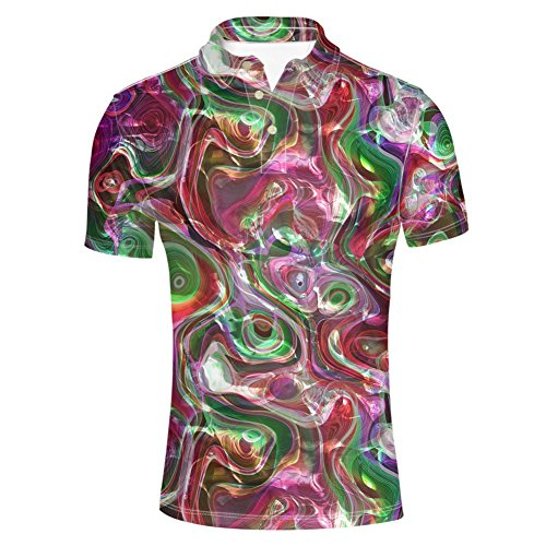 HUGS IDEA Men's Jersey Polos Shirt Abstract Multicolor T-Shirt Fashion Casual Short Sleeve for Sport