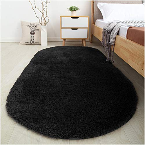 SANMU Soft Velvet Silk Rugs Simple Style Modern Oval Shaggy Carpet Fashion Bedroom Mat for Dining Living Room Rugs for Girls Room Home Decor 2.6' X 5.3' (black)
