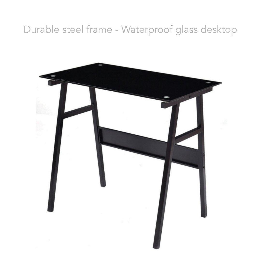 Computer Laptop Notebook Smartphone Writing Tabletop Glass Desk Durable Steel Construction Frame Office Living Room School Home Furniture #1849blk