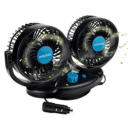 Welltop Car Cooling Fan 12V Auto Oscillating Car Air Fan with Dual Head 2 Adjustable Speeds Quiet Strong Dashboard Cooling Fans DC Electric Car Fans for Sedan SUV RV Boat Auto Vehicles Golf