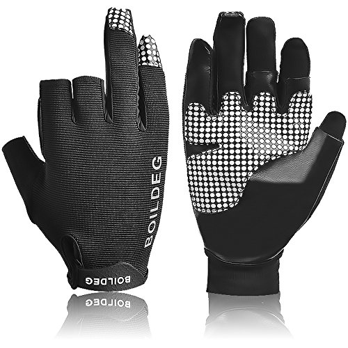 Fishing Hunting Gloves Anti-slip Fishing Gloves with 3 Fingerless Breathable Anti-slip Waterproof...