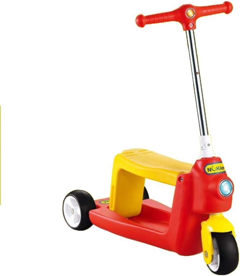 子供のためのスクーター3つの車輪のTバー調節可能な高さのハンドルのグライダーの車輪が付いているキックスクーター5から14歳までの子供のための広いデッキ (色 : 赤) 赤