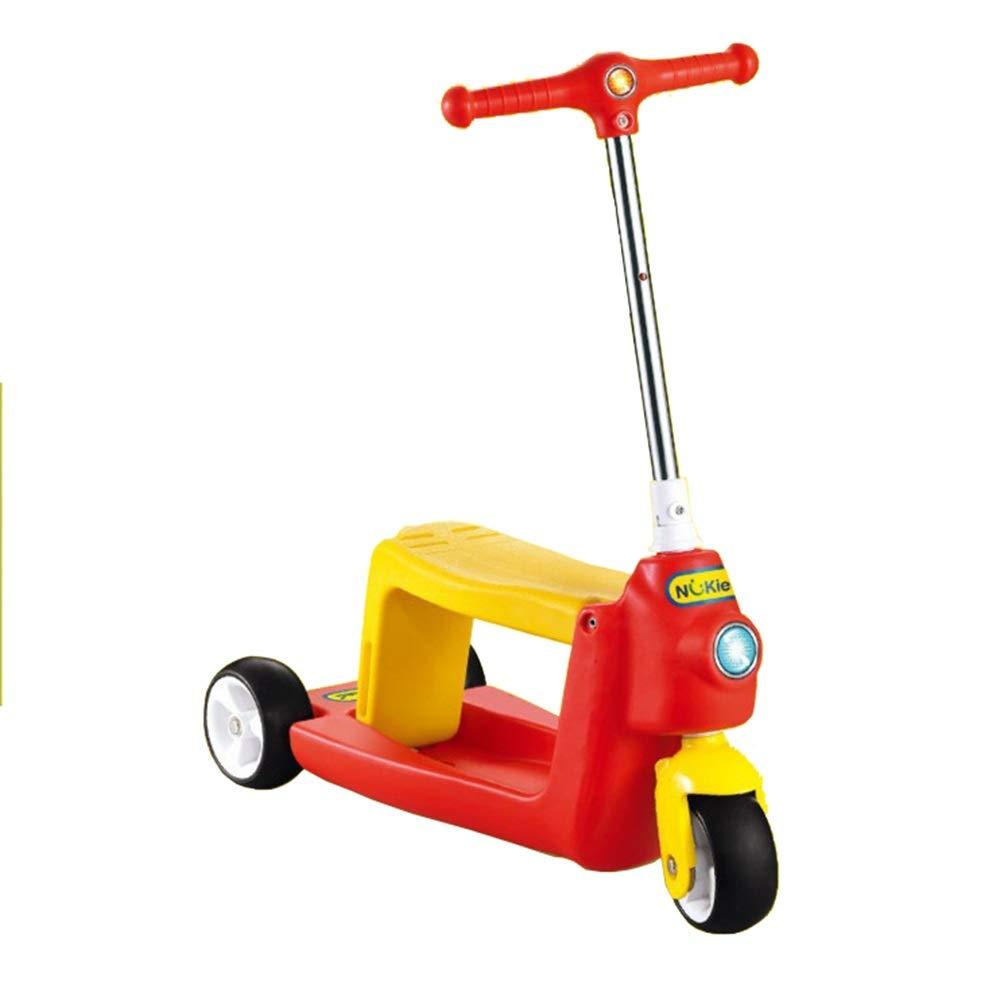 キックスクーター 子供のためのスクーター3つの車輪のTバー調節可能な高さのハンドルのグライダーの車輪が付いているキックスクーター5から14歳までの子供のための広いデッキ 持ち運びが簡単 (色 : 赤) B07Q8FMND2  赤