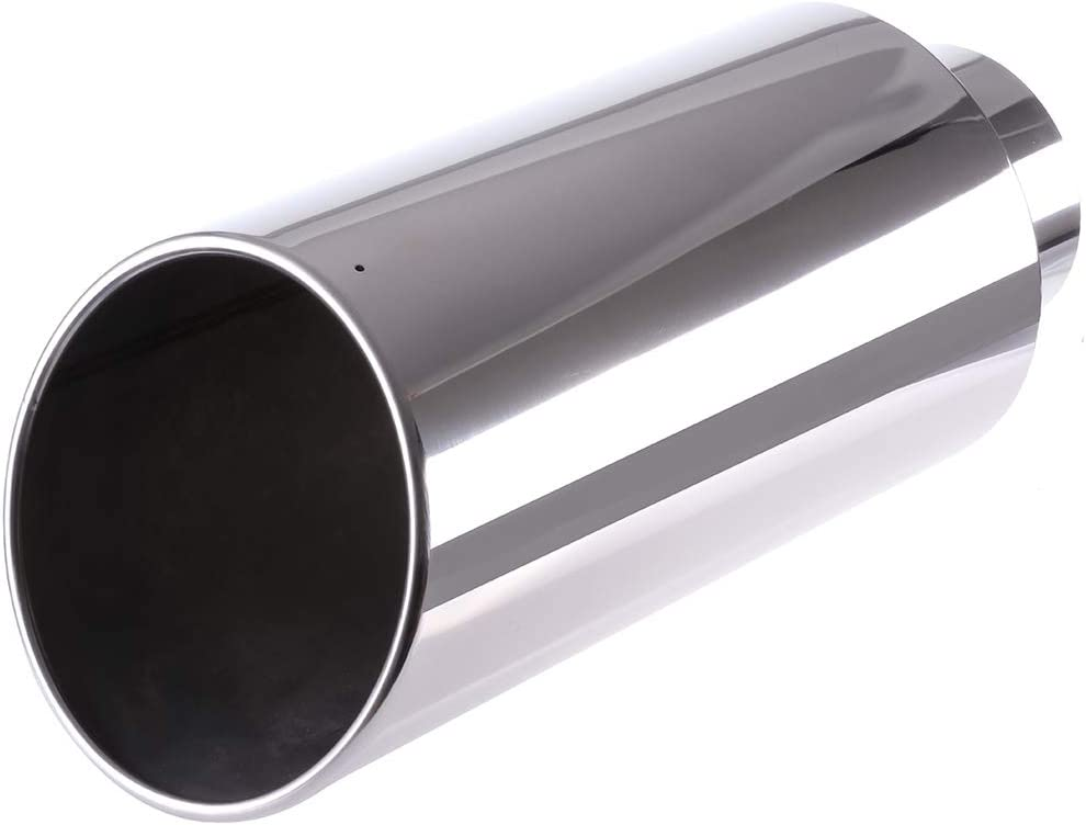 cciyu 5 Inch Inlet 8 Outlet 18 Long Diesel Exhaust Tip Stainless Steel Exhaust Tips Pipe Tailpipe Silver Clamp On
