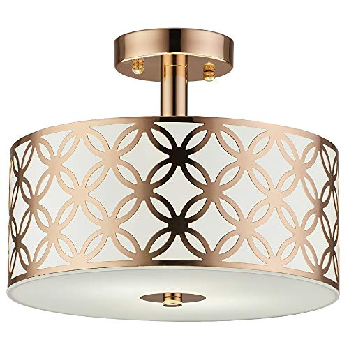 COTULIN Modern Luxurious Living Room Bedroom Gold Ceiling Light,Creamy White Glass Diffuser Chrome Finish Flush Mount Ceiling Light ()