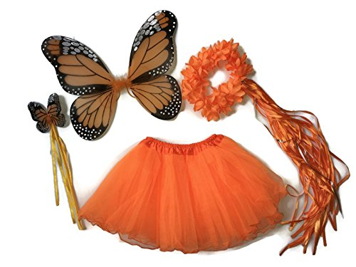 [Rush Dance Ballerina Princess Fairy Dress up - Monarch Wings, Wand, Halo & Tutu (Orange)] (Batman And Robin Tutu Costumes)