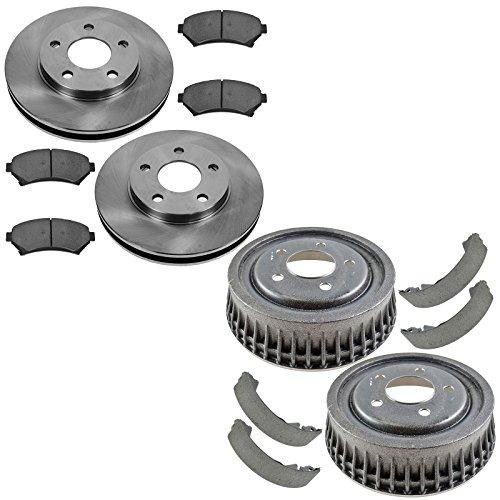 Premium Posi Ceramic Brake Pad, Rotor, Drum & Shoe Front & Rear Kit for GM Buick ()