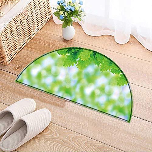 Semi-Circular Living Room Rug Green Oak Leaves Large Format Image. Bath Mat Shower Rug Bedroom Carpet Floor Mats W59 x H35 INCH