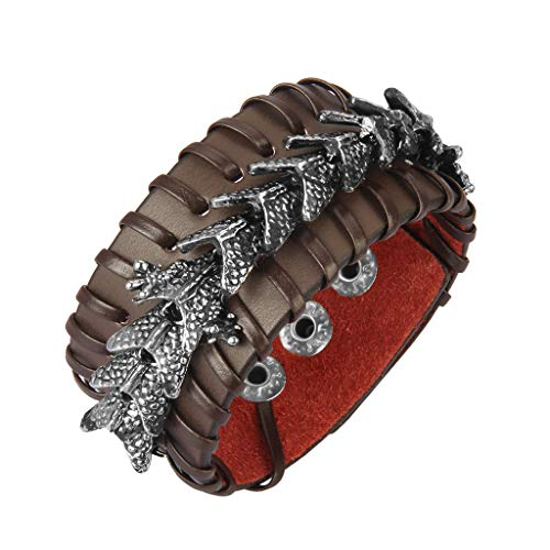 Wrap Around Dragon - Jenia Leather Cuff Bracelet Cool Dragon Wrap Bracelets Adjustable Belt Punk Leather Wristbands for Men, Rocker, Biker, Boy