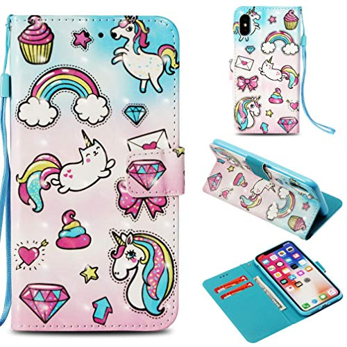 iPhone X Case,Flip Anti Sliding Lightweight Credit Card Holder Full Cover with Card Premium Pu Leather with Inner Rubber Bumper Shock Absorbent Kickstand Case for Apple iPhone X -Rainbow Horse