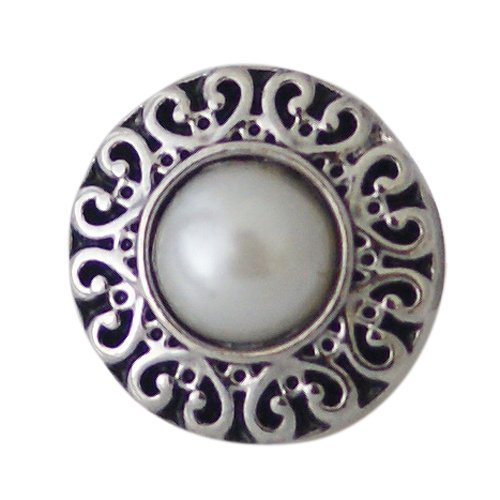 Silver Ring Scroll Borders - Chunk Snap Charm Petite 12mm Shell Pearl Center and Scroll Border