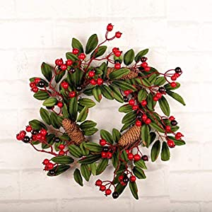 16 Inch European Flower Door Wreath Handmade Artificial Floral Garland with Red Berry Pine Cone for Front Door Display Wedding Farmhouse Home Wall Christmas Decoration 1