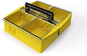TREY SRUC-4 Premium Part Storage Organizer - 4 Compartment Stackable Storage Organizer With Individual Lids, Separate Bins For Hardware, Crafts Supply, Screw Organizer, Nails Bolts Nuts Organization