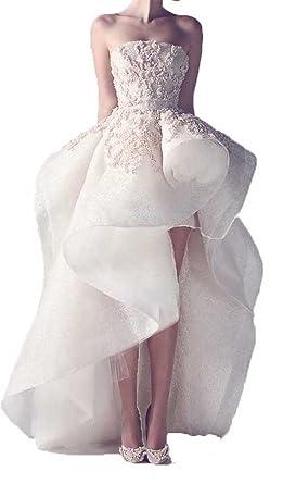 Fanmu Strapless High Low Design Appliques Prom Dress Bridal Wedding ...