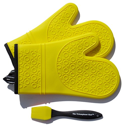 Super Flex Silicone Oven Mitt, Deluxe Quilted Liner, 1 Pair, Canary Yellow, Bonus Sauce Brush